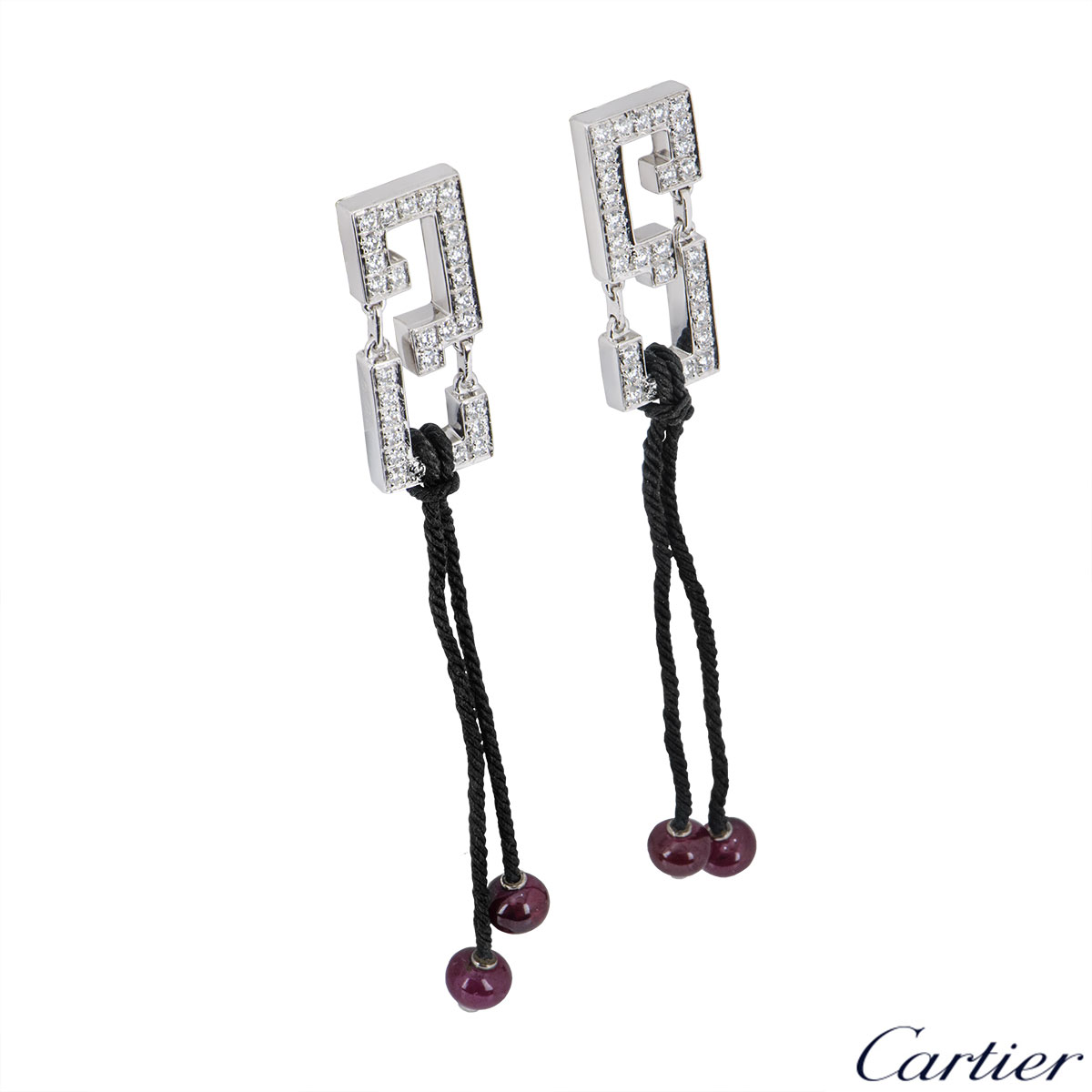 Cartier White Gold Diamond Le Basier Du Dragon Earrings